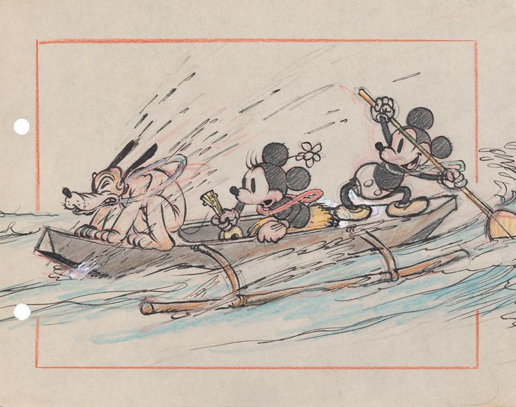 Mickey and Minnie Mouse and Pluto riding in a canoe