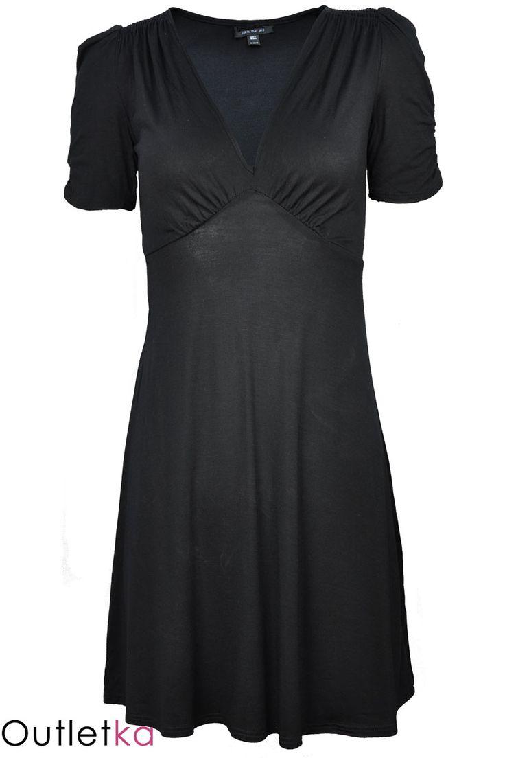 Tunika / sukienka renomowanej zachodniej marki TOPSHOP. Dekolt w kształcie litery V. Krótki rękaw, na ramionach posiada marszczenia a'la bufki. Odcinana pod biustem. Materiał miły w dotyku.