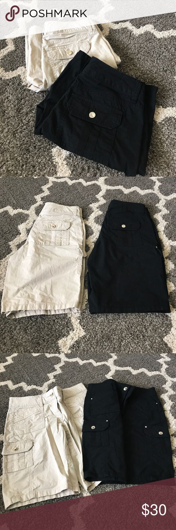 White House black market shorts White House black market shorts, Bermuda length, price is for both, they have button detailing silver on the black and gold on the tan White House Black Market Shorts Bermudas
