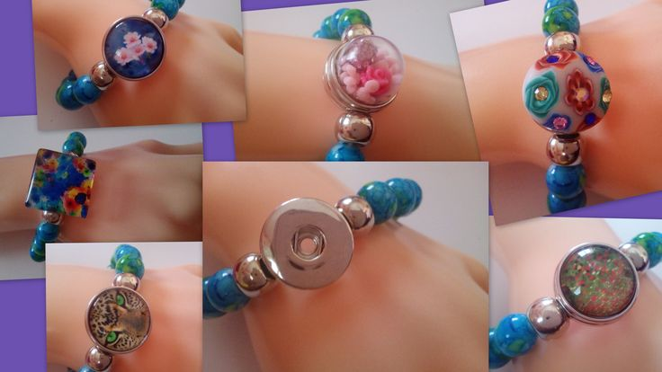 Natural Stone Azurite Malachite 18 20 mm Snap Button Socket Stretchable Bracelet