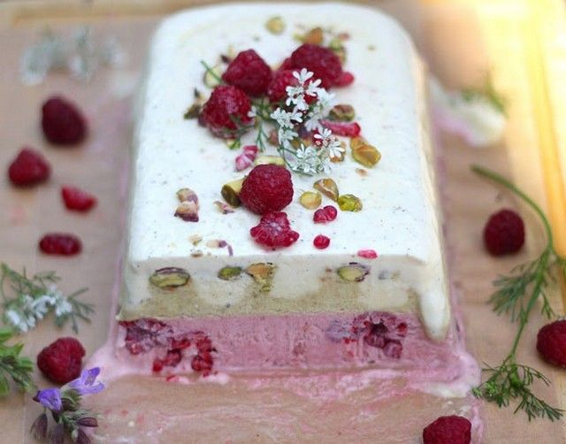 Raspberry, Pistachio, and Vanilla Semifreddo recipe | Easy Dessert ...