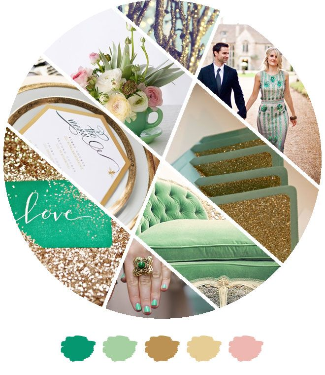 emerald green, mint, peach, and gold wedding color palette | Color Palette: Golden Emerald