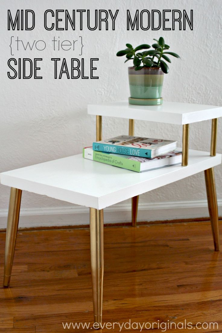 mid century modern two tier side table makeover
