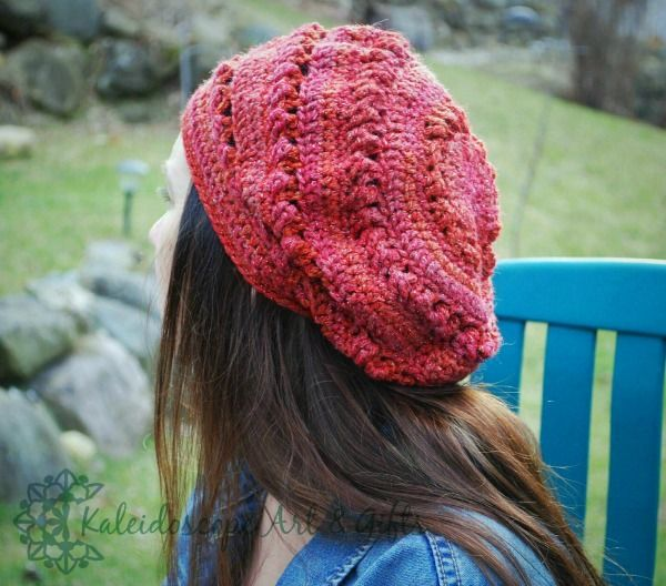 This beautiful slouch will look gorgeous with your Fall/Winter wardrobe. The yarn and stitch combination used gives the hat depth and texture with a slight chic look.