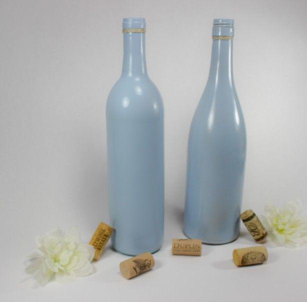 Wine Bottle Vase Set of 6 - Tranquil Blue Vases - Wedding Centerpiece - Baby Boy Shower - Table Decor - Rustic Glam - Bridal Shower