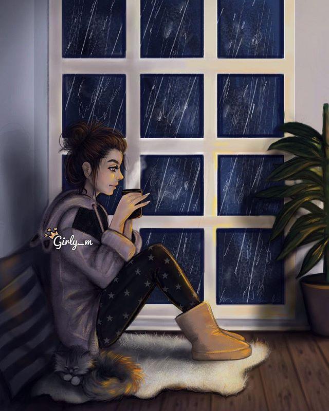 Es tan típico de mi sentarme en la ventana a mirar y escuchar las gotitas de lluva .y sentarme a dibujar porque esos dias me inspiran. Amo amo la lluvia.