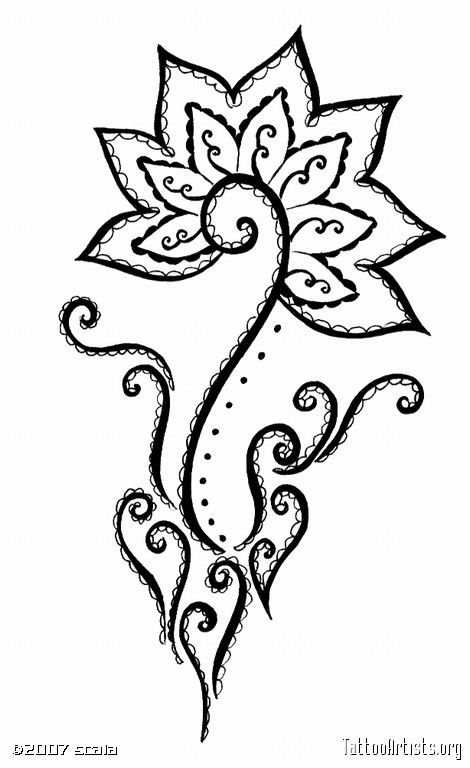 celtic henna designs | Mehndi style Flower - Tattoo Artists.org; re pin very pretty flower