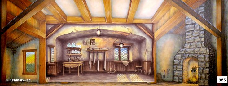 D985 Cottage Interior Theatrical Backdrop Rentals By