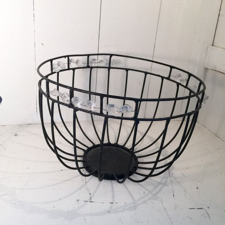 Vintage Wire Basket with Crystals - $29
