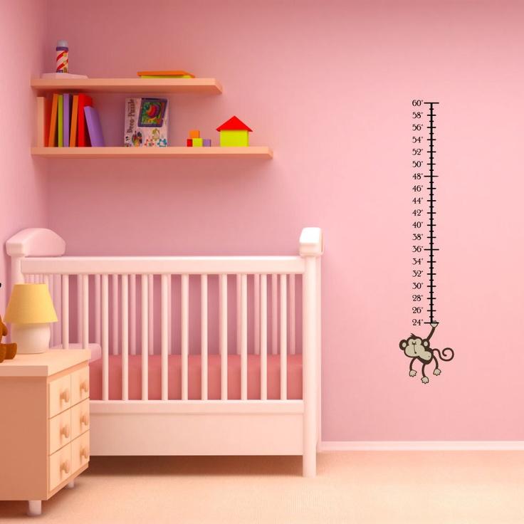 Nursery Room Childrens Growth Chart Happy Funny Monkeys