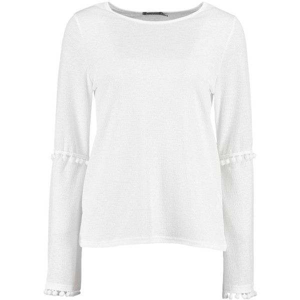 Boohoo Erin Pom Trim Flare Sleeve Top ($26) ❤ liked on Polyvore featuring tops, off the shoulder crop top, white off the shoulder top, white top, white crop top and white cami top