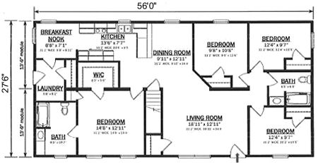R154042-1 by Hallmark Homes Ranch Floorplan