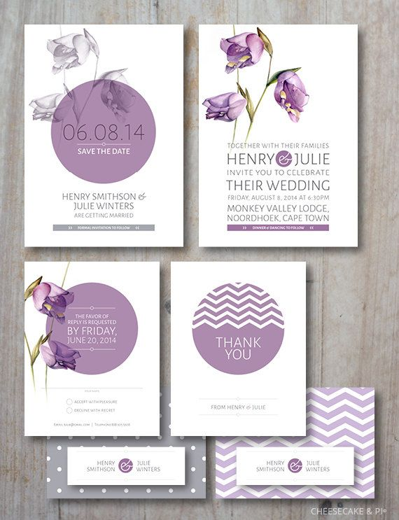 Customized wedding stationery suite / Bluebell flower / Lilac / Save the date / Invitation / RSVP / Thank you card / gift tag on Etsy, 17105,26Ft