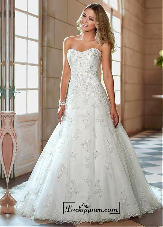 Buy Alluring Tulle Sweetheart Neckline Natural Waistline A-line Wedding Dress Online Dress Store At LuckyGown.com