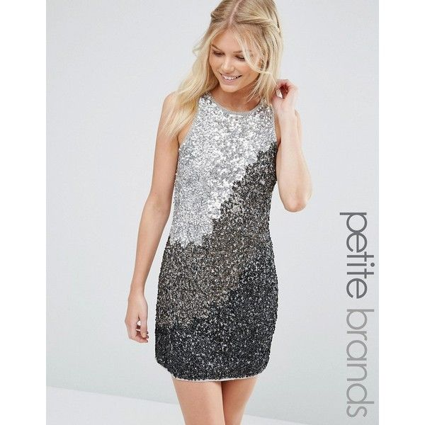 Maya Petite Shift Dress In Tonal Sequins (£74) ❤ liked on Polyvore featuring dresses, grey, sequin dresses, sequin shift dress, petite shift dress, shift dress and grey sequin dress