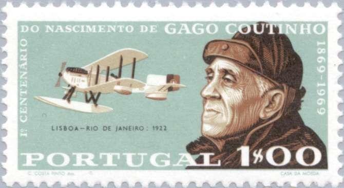 Stamp: Lisbon-Rio de Janeiro 1922 (Portugal) (1st Centenary of the birth of Gago Coutinho) Mi:PT 1084,Sn:PT 1052,Yt:PT 1065,Afi:PT 1055