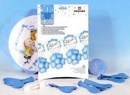 Decoratiune botez baieti din baloane inimioare bleu Kit BABY BOY 2,30 metri