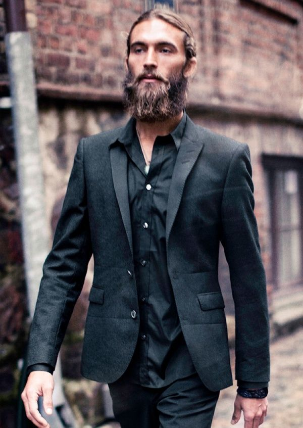 Man. black suit men beard hair shirt streetstyle fashion black tie