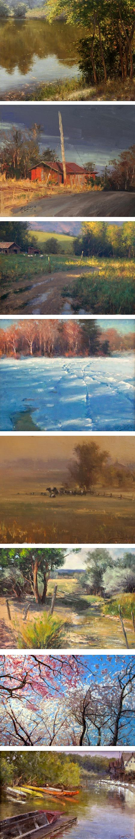 D Eleinne Basa is a painter from New Jersey whose landscapes and florals can range from refined, as in her large studio paintings, to nicely rough edged and painterly, as in her plein air paintings.