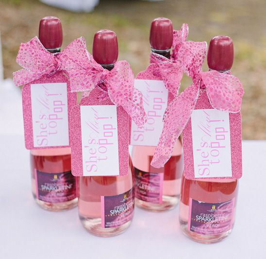 """Champagne Favors with """"She's about to pop!"""" tags - Beautiful Southern Baby Shower in Pink"""