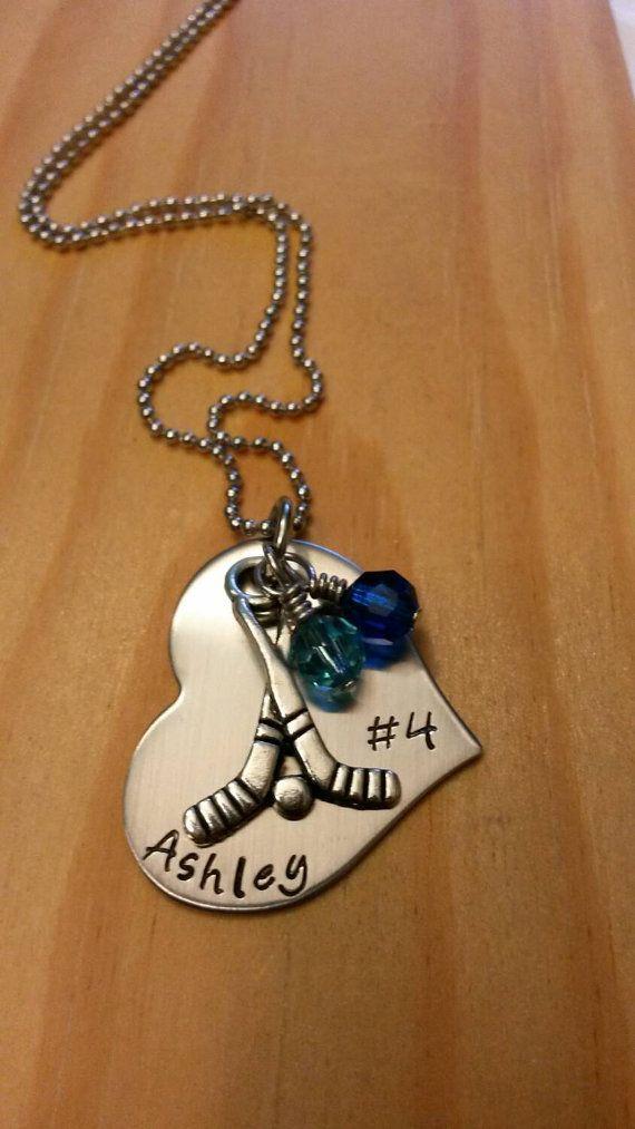 Field hockey necklace. Field hockey team gift. https://www.etsy.com/listing/250470761/hand-stamped-field-hockey-necklace-girls