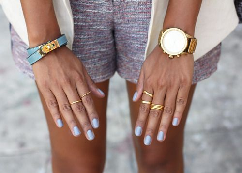 Thin Rings and Pastel Blue Polish. Not so keen on the polish but love the rings!!