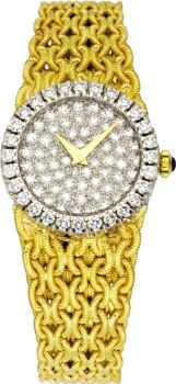 Baume & Mercier Lady's Diamond, Gold Integral Bracelet Watch