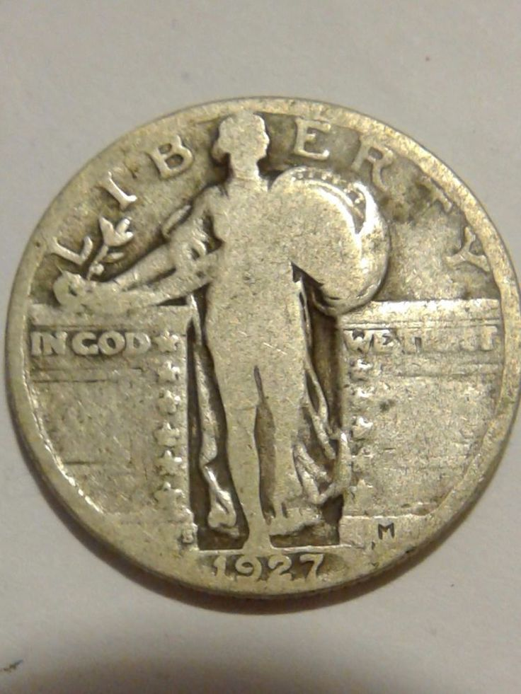 1927-S Very Good Standing Liberty Quarter Dollar Circulated - 90% Silver