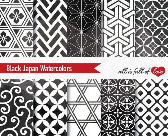Black Japan Watercolor Paper by All is full of Love on @creativemarket