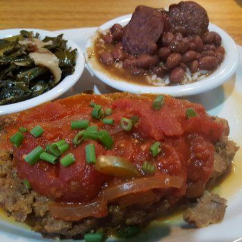 Cajun Yard Dog - Fort Mill, SC. Meatloaf with collards, red beans and rice.