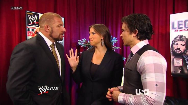 Stephanie McMahon, Triple H, & Brad Maddox Backstage