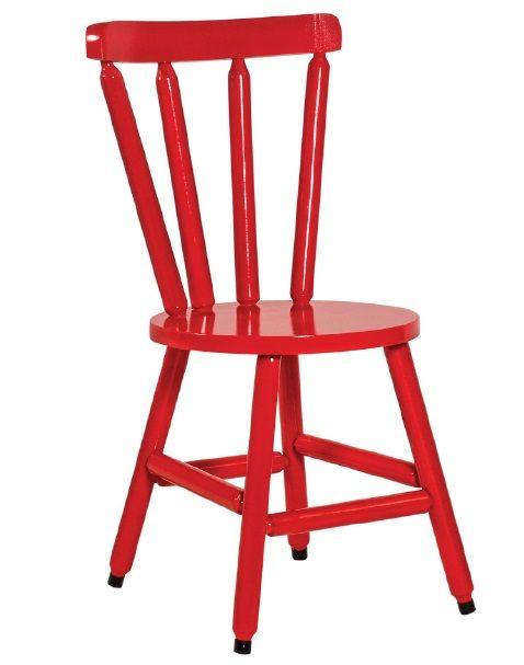 Cadeira Colonial Maciça Torneada Assento Redondo Vermelho
