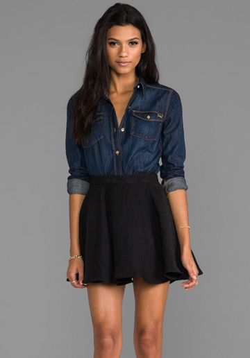 Juicy Couture Denim Button Up Top in Dk Vintage Wash. I would probably wear this with a lighter denim top