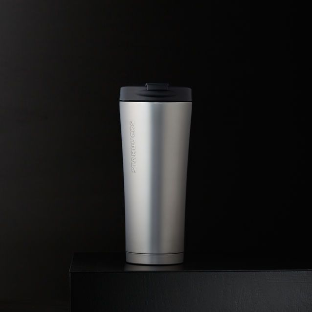 A double-walled, stainless steel coffee tumbler with a soft hand feel and silver finish.