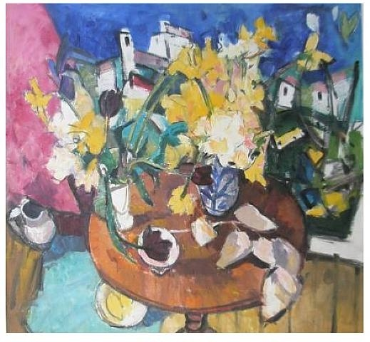 Archie Forrest, Studio Table with Raseberry Tulips