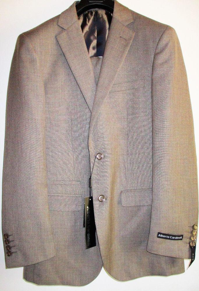 Alberto Cardinali Men's 2 Piece 38 R/32 W Taupe Slim Fit Suit #AlbertoCardinali #DoubleBreasted