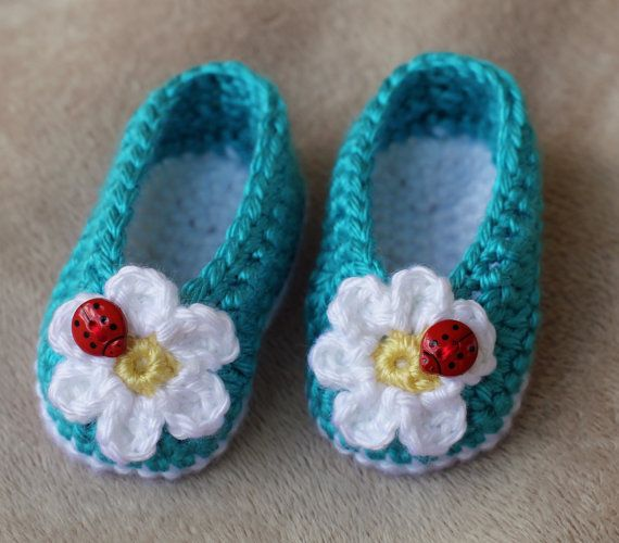 Ladybug crochet booties