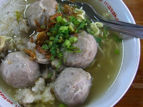 Bakso- Indonesian meatballs in soup. Sometimes there is an egg in the meatballs