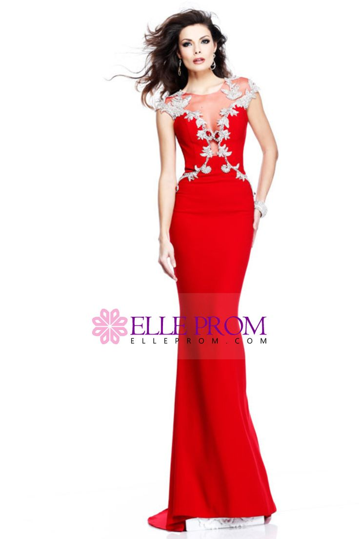 2014 Mermaid Red Evening Dresses Scoop Sexy