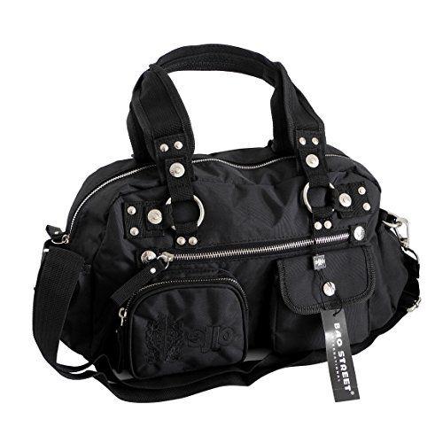 Jennifer Jones modische sportlich-elegante Damen Handtasche Umhängetasche - präsentiert von ZMOKA® (Schwarz)