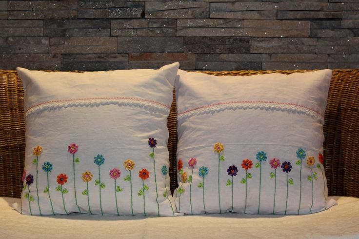 Floral Decorative pillow cover, Pillow cover for girls, Home decor, 18 x 18 inches, White cotton throw pillow, Lace flowers, Accent pillow by JaxStarHome on Etsy
