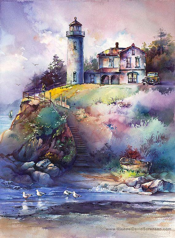 Le phare - impression de peinture à l'aquarelle par Michael David Sorensen. Amirauté tête phare - Whidbey Island. Puget Sound, Washington.