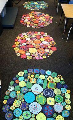 Cada alumno decora un círculo en colores fríos o cálidos. Luego se recortan y se pegan juntos. Los círculos son de distintos tamaños.