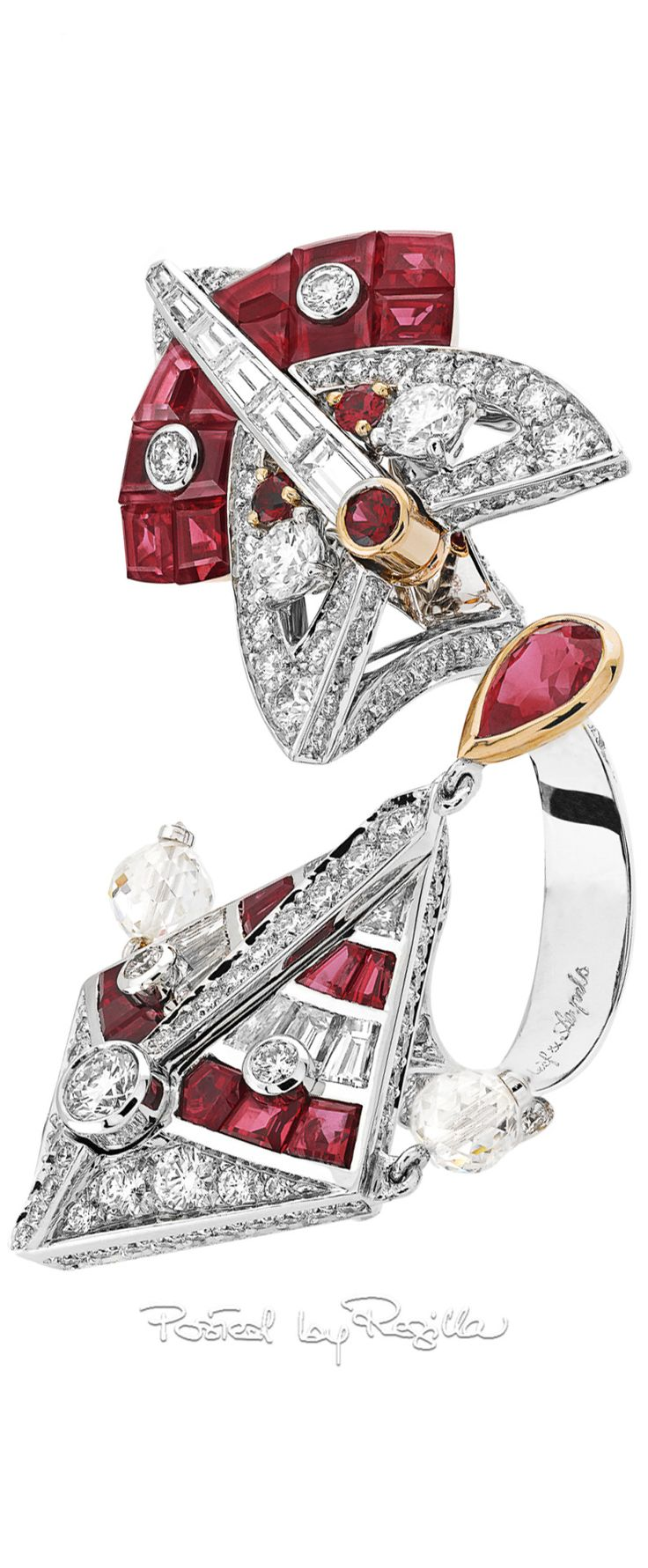 Van cleef amp arpels vca 18k yellow gold ruby cabochon amp diamond - Regilla Van Cleef Arpels Cerfs Volants Myst Rieux Between The Finger Ring