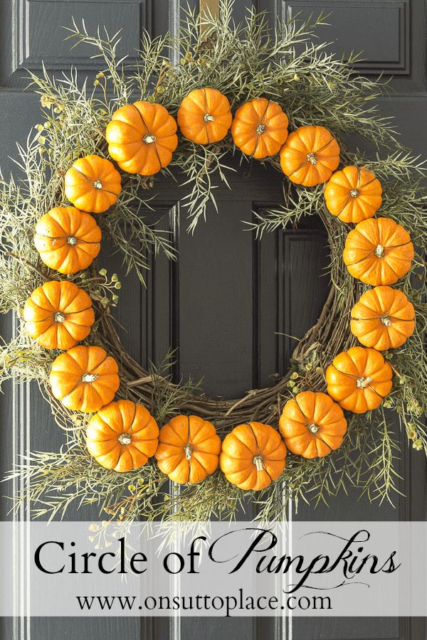 DIY Circle Pumpkin Wreath   Mini Pumpkins   Fall Decor for your Front Door! Easy tutorial with photos that show exactly how to attach the pumpkins to the wreath.