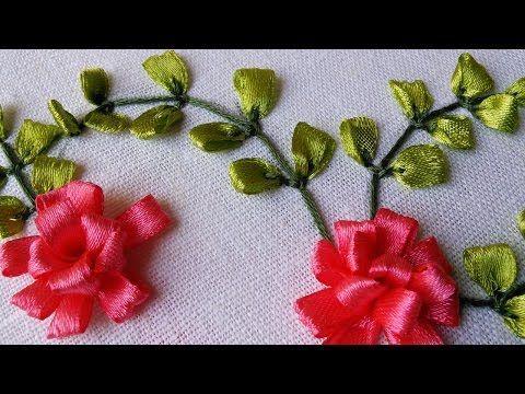 Embroidery Tutorial | Ribbon Flower Design | HandiWorks #41 - YouTube