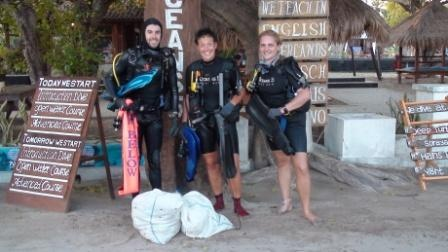 Beach and reef clean up at Gili Air, Gili Islands, Indonesia