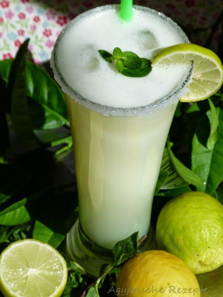 """Ägyptische Zitronen-Limonade (Zitronensaft) - Asir Lamun   Aus den reifen Zitronen machen die Ägypter einen sehr erfrischenden Zitronensaft, der """"Asir Lamun"""" genannt wird. Ein Schuss Milch und ein Hauch Minze machen diesen Saft typisch ägyptisch. Der typische Schaum bildet sich beim mixen im Standmixer."""