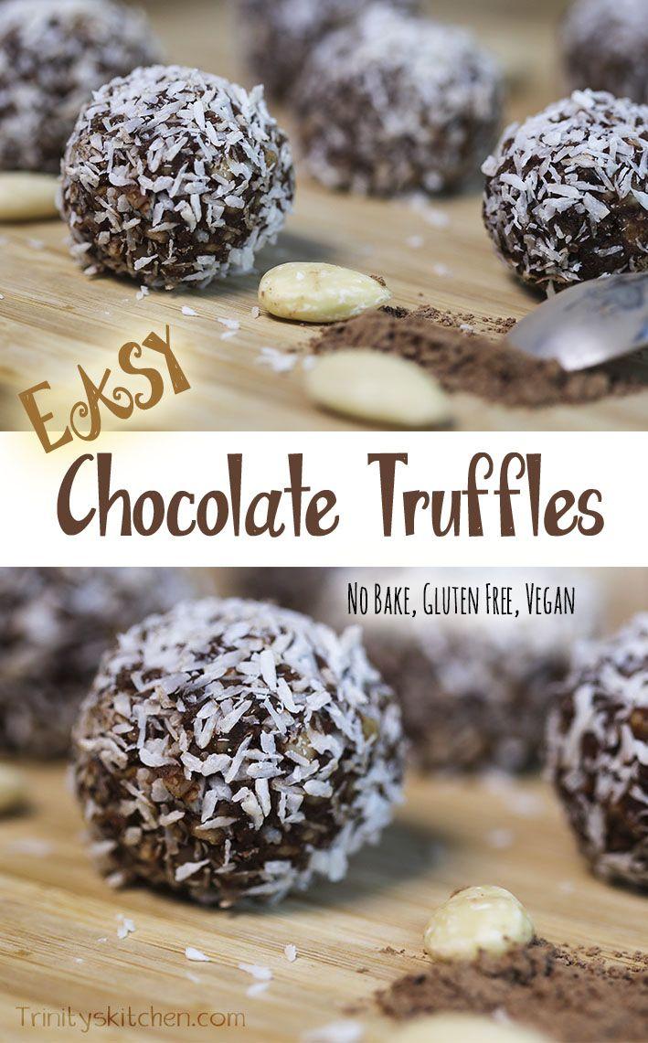 Super Easy Chocolate Truffles. Delicious and fast. #nobake #glutenfree #vegan
