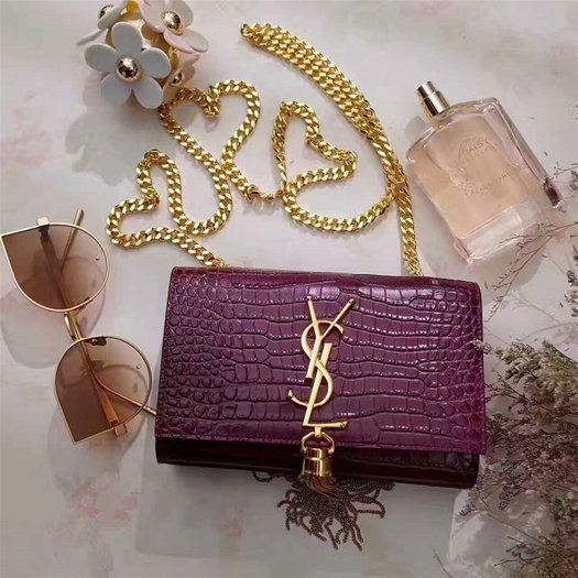 YSL Spring Summer 2017 Bags Collection-Classic Saint Laurent Small  Monogramme Tassel Satchel in purple crocodile embossed leather cd443eae8bd8f